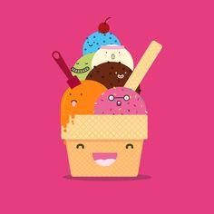 Ice-cream #Kawaii #Draw #Illustration