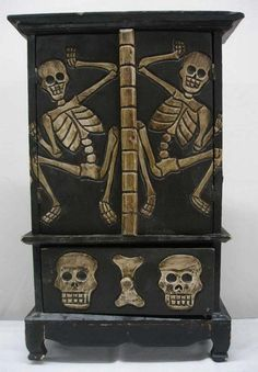 Mexican Wooden Cabinet Day Of The Dead Theme Black And Skulls Skeletons What A