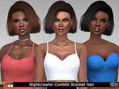 Sims Addictions: Nightcrawler`s Confetti Hair Braided • Sims 4 Downloads