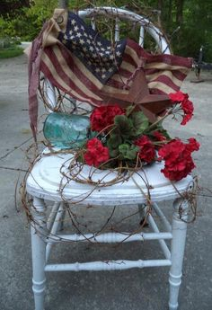 Old chair ...mason jar