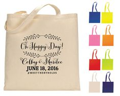 Oh Happy Day Tote BagS Personalized Totes Wedding Totes Wedding Welcome Bags Wedding Favors Custom Cotton Totes Monogrammed Bags 1087 by SipHipHooray