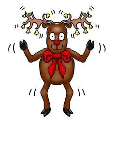 Whimsical reindeer shaking bells on his antlers.