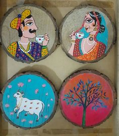 Indian Style, Indian Art, Rock Painting, Painting On Wood, Photo Onto Wood, Indian Wedding Video, Painted Rocks, Hand Painted, Wood Slice Crafts