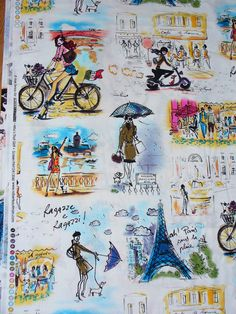 Paris Fabric / Who's that Girl Fabric /  1 by trinketsintheattic, $17.00