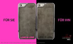 """LOVE IS LOVE"" Smartphone Case - iPhone 5/5S Case handmade from genuine leather!  Handgemacht aus echtem Leder für iPhone 5/5S & iPhone 4/4S <3"