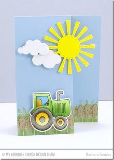 Farm-tastic, Farm Fence Die-namics, Farm-tastic Die-namics, Puffy Clouds Die-namics, Sunny Skies Die-namics - Barbara Anders  #mftstamps
