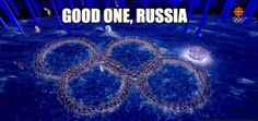 Russia poking fun at themselves over the Olympic rings malfunction during the opening ceremony #Sochi2014