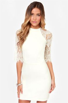 Persun Women's Elegant White Lace Panel Half Sleeve Bodycon Dress,S Bodycon Dress With Sleeves, Dress Up, Dresses With Sleeves, Half Sleeves, Dress Lace, Lace Outfit, Dress Clothes, Chiffon Dress, Pink Dress