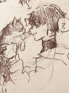 """みひろ on Twitter: """"猫でも強し… """" Anime Drawings Sketches, Anime Sketch, Cool Drawings, Art Inspo, Manga Art, Anime Art, Poses References, Arte Sketchbook, Cute Art Styles"""