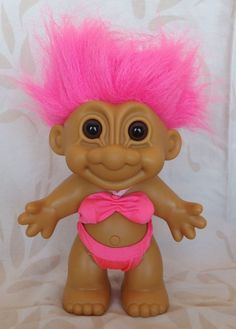 """Russ Troll Doll 7"""" Large in Pink Swimsuit Pink Hair  #Russ #Troll"""