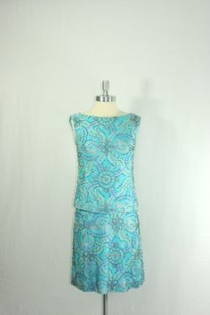 1960s Beaded Dress  Vintage Turquoise Blue by VintageFrocksOfFancy, $160.00