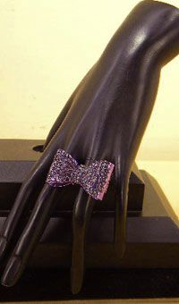 Purple Rhinestone Bow Stretch Ring