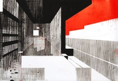 """Building 3, screenprint with handpainting on mylar by Ryan Parker, 17 7/8 x 26"""""""