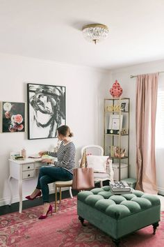 writing letters in feminine office