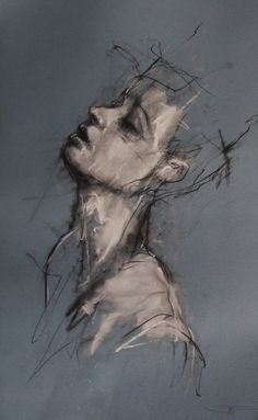 Guy Denning ~ Head's a fucking mess, 2011 (chalk, conté)