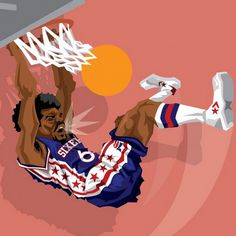 Julius Erving 'Slam Dunk' Caricature Art
