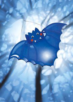 "Make a bat lantern- Fledermaus-Laterne basteln ""Bat"" Lantern for Halloween (Halloween Crafting) - Hand Crafts For Kids, Easy Fall Crafts, Diy For Kids, Halloween Ii, Halloween Crafts, Owl Lantern, Wooden Lanterns, Winter Home Decor, Lantern Candle Holders"