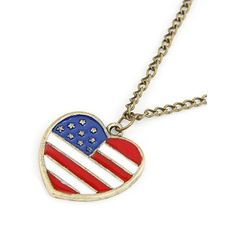 American Flag Heart Pendant Long Necklace Golden ($1.48) ❤ liked on Polyvore featuring jewelry, necklaces, golden pendant, golden pendant necklace, golden heart pendant, heart shaped pendant necklace and golden necklace