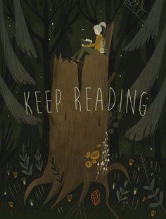 """Keep Reading,"" digital poster by Alexandra Dvornikova with Russian folk art overtones. /NSC"