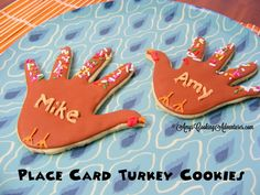 Amy's Confectionery Adventures: Hand Turkey Place Card Cookies