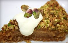 Persian Love Cake 3 cups almond meal cup raw sugar 1 cup brown sugar 100 g butter, room temperature Pinch salt 2 eggs 1 Tbs grated nutmeg Zest 1 lemon Greek yoghurt cup pistachio kernels, crushed, chopped or blended Gluten Free Desserts, Dairy Free Recipes, Paleo Recipes, Armenian Recipes, Armenian Food, Love Cake Recipe, Moroccan Desserts, Gelato Cake, Dinner Club