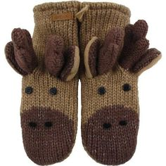 Industries Needs — Baby Boys- Accessories- Gloves & Mittens Knit Mittens, Mitten Gloves, Moose Animal, Animal Hats, Moose Decor, Baby Boy Accessories, Winter Warmers, Winter Fun, Hand Warmers