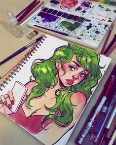 I felt like drawing some fan art in my sketchbook today after I picked up issue 2 of Snotgirl, a comic by the amazing @dairyfree and @radiomaru  it's already one of my favorite comics and the art is amazing, I can't wait for the next...