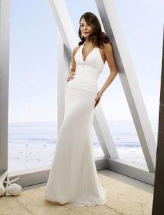 Sheath/Column Sleeveless Beading Chiffon White Beach Wedding Dress for Brides