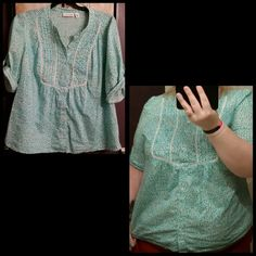Teal/white Dotted Blouse Loose fitting teal/white blouse. Size on shirt says 1X, but I wear a 3X and it fits me perfect. Tops Blouses