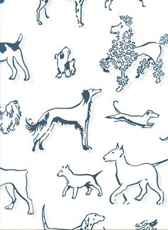 Best in Show Wallpaper Wallpaper with navy dogs with light beige shadow print on off white