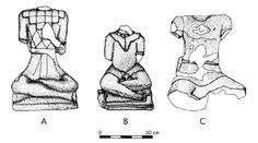 7 A : statue de Roquepertuse (Bouches-du-Rhône), dessin d'après Gantès, Lescure 1993 ; B : statue de Glanum (Bouches-du-Rhône), dessin d'après Barbet 1991 ; C : statue d'Entremont (Bouches-du-Rhône), dessin d'après Salviat 1987
