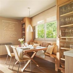 Dining room - this is what I want, but less contemporary Dining Nook, Dining Room Design, Interior Design Kitchen, Kitchen Nook, Wooden Kitchen, Cocina Office, Sweet Home, Beautiful Dining Rooms, Dream Decor