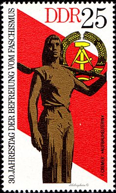 German Democratic Republic.  30th ANNIVERSARY OF FREEDOM FROM FASCISM.  WOMAN RECONSTRUCTION WORKER.  Scott 1641 A500, Issued 1975 May 6, 25.  /ldb.  (MINT)