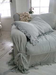 soft and shaggy : blue linen sofa covering, shabby chic.