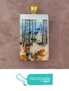 Woodland Deer Fused Dichroic Glass Pendant Necklace Gold Plated Bail - Ready to Ship A2608 from Lolas Glass Pendants http://www.amazon.com/dp/B015LBNDF6/ref=hnd_sw_r_pi_dp_GSVMwb0YBJEW5 #handmadeatamazon
