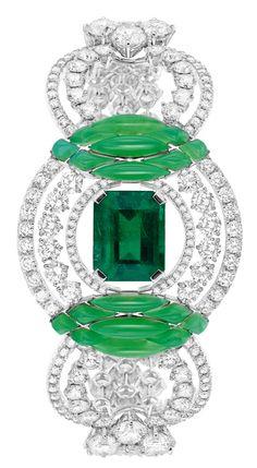 "#Chaumet - #Bracelet from ""Lumières de l'eau"" collection 2014. #Whitegold set with #diamonds sculpted #chrysoprase, an #emeraldcut - #emerald from #Zimbabwe of 1.35 carat and an #emeraldcut emerald from #Colombia of 6.22 carats"
