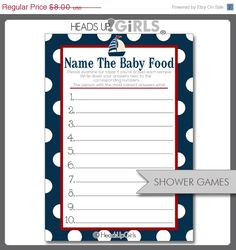 Guess the baby food game for nautical baby shower.