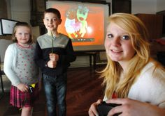 Left to right; Belle and Joe Underwood, aged seven and nine,  with Alethea Farline, 15, in front of their animation work at the Made With Love Too exhibition at Sunderland Minster.  Exhibition of work by children who have lost loved ones, created in partnership between Barnardo's North East, the University of Sunderland, HEART and St Benedict's Hospice.