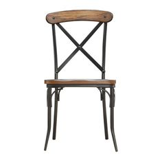 Tribecca Home Nelson Industrial Modern Rustic Cross Back Dining Chair ($149) ❤ liked on Polyvore featuring home, furniture, chairs, dining chairs, inspire q, inspire q furniture, colored chairs, inspire q chairs and colored dining chairs