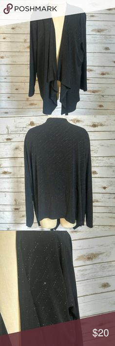 Lindor Petites Black Sparkle Evening Open Sweater Lindor Petites Black Sparkle Evening Open Sweater  Small pieces of shimmer all over this stunning sweater. Size petite XL in excellent condition. Please let me know if you have any questions. I ship the same day as long as the post office is still open. Have a great day, thanks for checking out my closet and happy poshing! Lindor Sweaters Cardigans