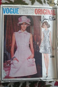 Vtg Vogue Paris Original Pattern 2246 Semi Fitted A Line Sleeveless Dress, by Jean Patou