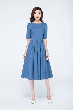 blue dress linen dress classic dress casual dress womens