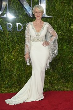 Helen Mirren in Badgley Mischka. See what everyone wore to the 2015 Tony Awards.