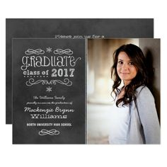2017 Photo Graduation | Black Chalkboard Card