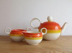 Vintage 1960s porcelain teapot Creamer sugar by mlovesvintage