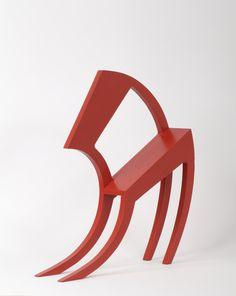 Stefan Wewerka, Classroom Chair, design: 1970; multiple. Wood, sprayed red. Owner: Alexander Verlag Berlin. Photo: Die Neue Sammlung – The International Design Museum Munich (A. Laurenzo). © VG BildKunst 2012