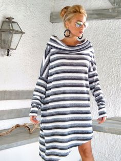 Winter Warm Knitted Asymmetric Blouse Tunic / by SynthiaCouture