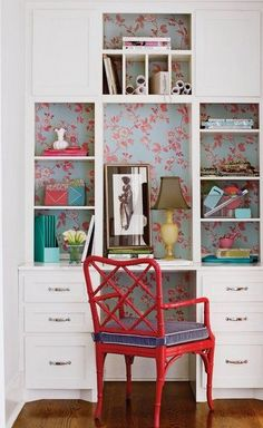 Love the idea of lining the back of shelves with wallpaper. You get a pop of color or a fun design without having to cover a whole wall(s) with it. Could do this with hutch in dining room.