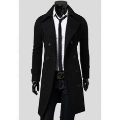 Casual Style Slimming Lapel Neck Double-Breasted Design Long Sleeves Polyester Windbreaker For Men