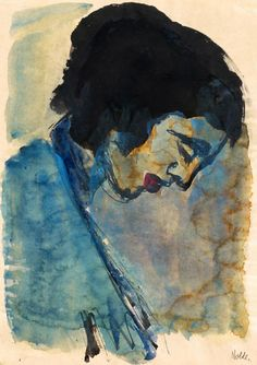 Emil Nolde, 'Head of a Woman', c. 1917-20. Watercolor and gouache on drawing paper, 35 x 25 cm.